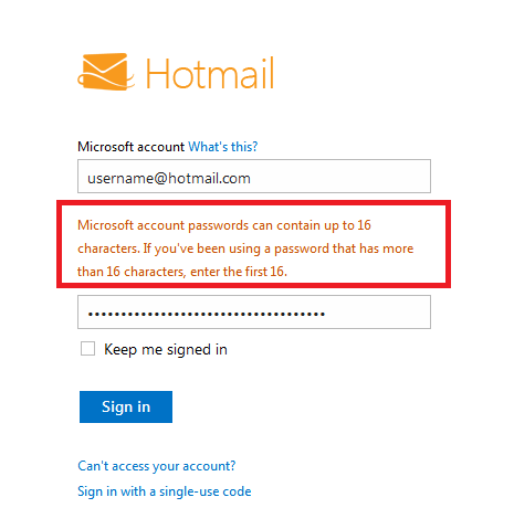 hotmail com password: