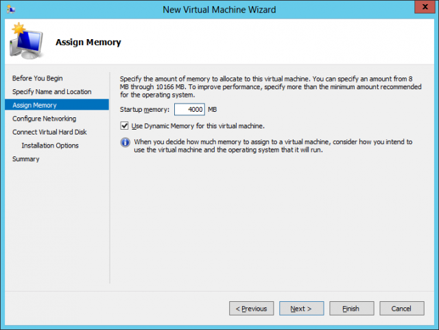 Selecting Dynamic Memory for a virtual machine at setup allows Hyper-V to give or take away RAM as demand requires.