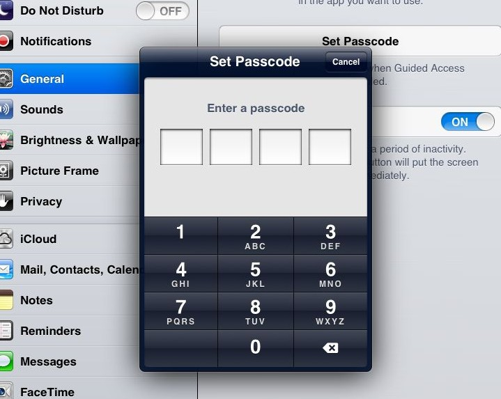 Settings prompts for a four-digit PIN to escape from Guided Access mode. How bored are your employees, exactly?
