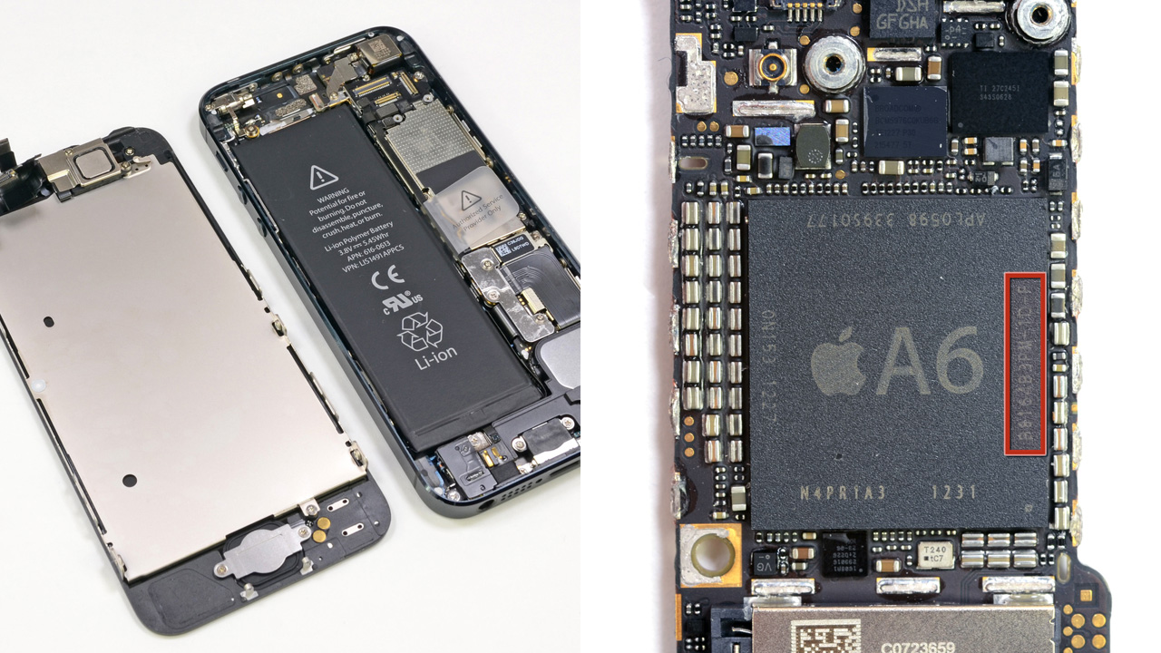 The front panel is the first component to come off the iPhone 5 (left), making it easy to repair cracked screens or broken home buttons. The new A6 processor (right) offers double the performance for the same amount of power use.