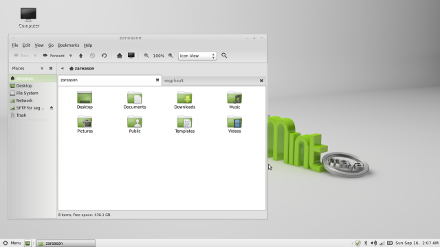 The default MATE desktop environment under Linux Mint