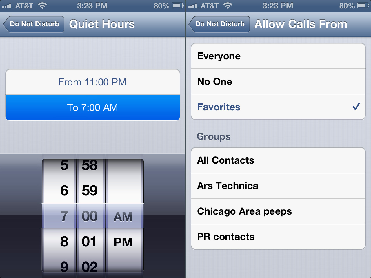 "In addition to setting a schedule (left), you can can let calls from certain people ""disturb"" you, no matter what."