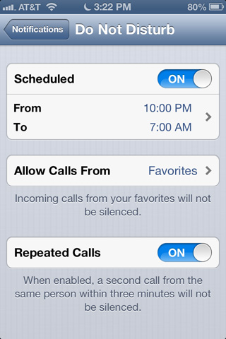 Do Not Disturb has some useful settings, including a scheduling option to silence Notifications at night, and turn them back on in the morning.