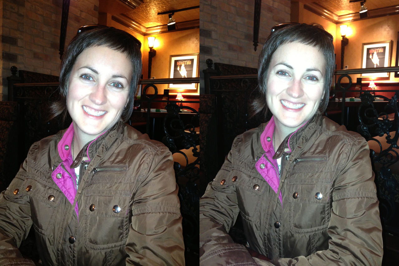 iPhone 4S (left) seems to do slightly better with the LED flash than the iPhone 5 (right).