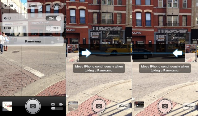 "Tap ""Panorama"" to switch on the new panorama shooting mode (left). By default, you sweep left to right (center), though if you tap the arrow you can switch directions (right)."