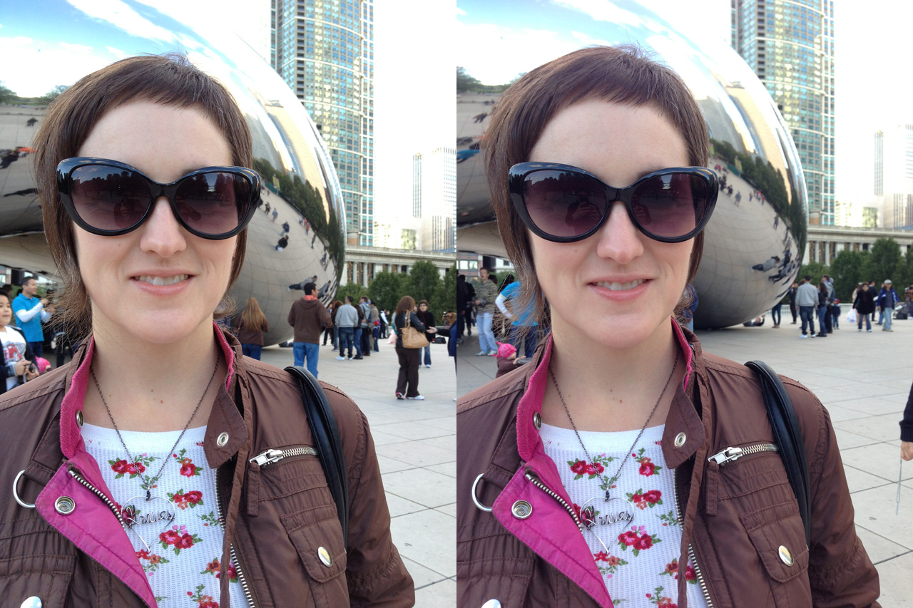 "Michelle poses by Chicago's infamous ""bean."" Again, the iPhone 5 (right) does a bit better with skin tones."