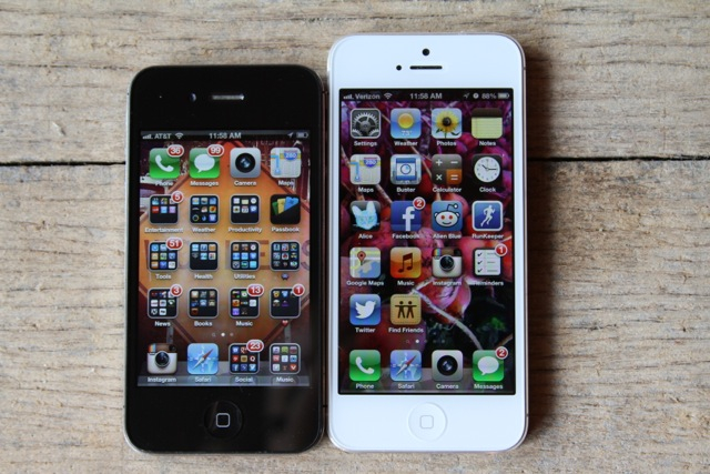 iPhone 4S on the left, iPhone 5 on the right.
