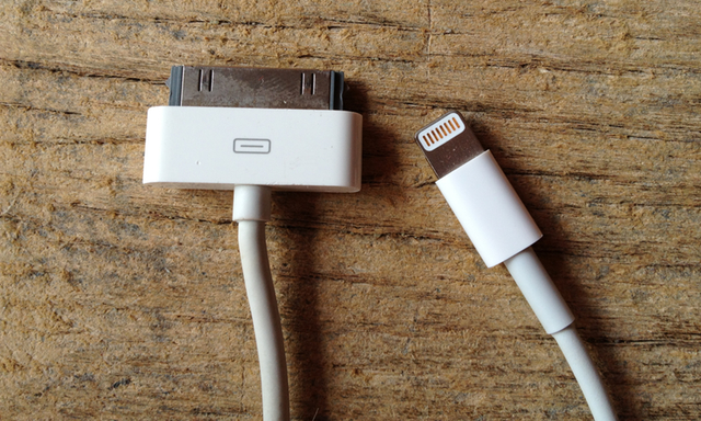 Apple upgraded from the old 30-pin connector (left) to the new Lightning connector (right) in the iPhone 5.