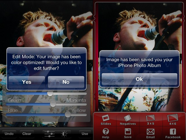 """The iPics2Go app applies a little """"optimization"""" to images, which you can tweak before saving."""