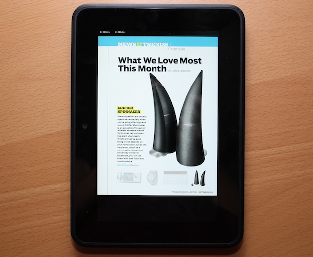 A magazine page displayed on the Kindle Fire HD.