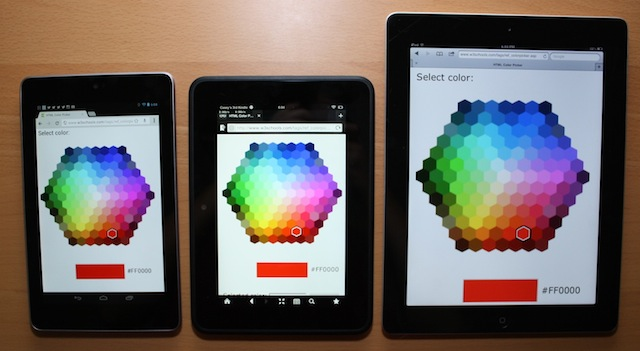 Colors on the Nexus 7, left, Kindle Fire HD, center, and iPad 2.