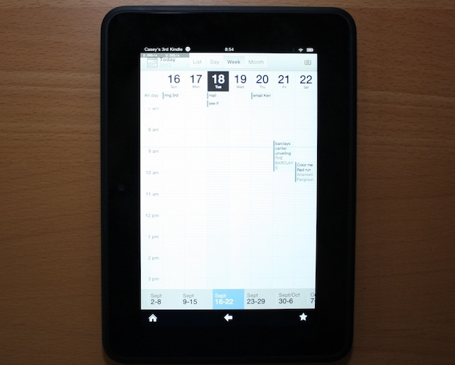 The calendar app on the Kindle Fire HD.