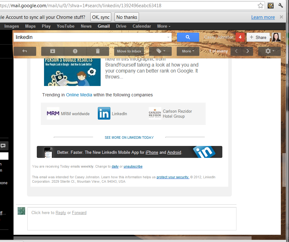 LinkedIn's unsubscribe link at the bottom of an e-mail, which takes us to...