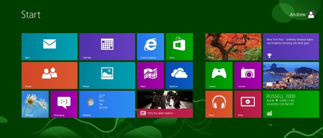 The Windows 8 Start screen makes good use of the additional horizontal real estate.