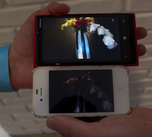 These photos were taken of the same scenario; top, a Lumia 920, bottom, our iPhone 4S.