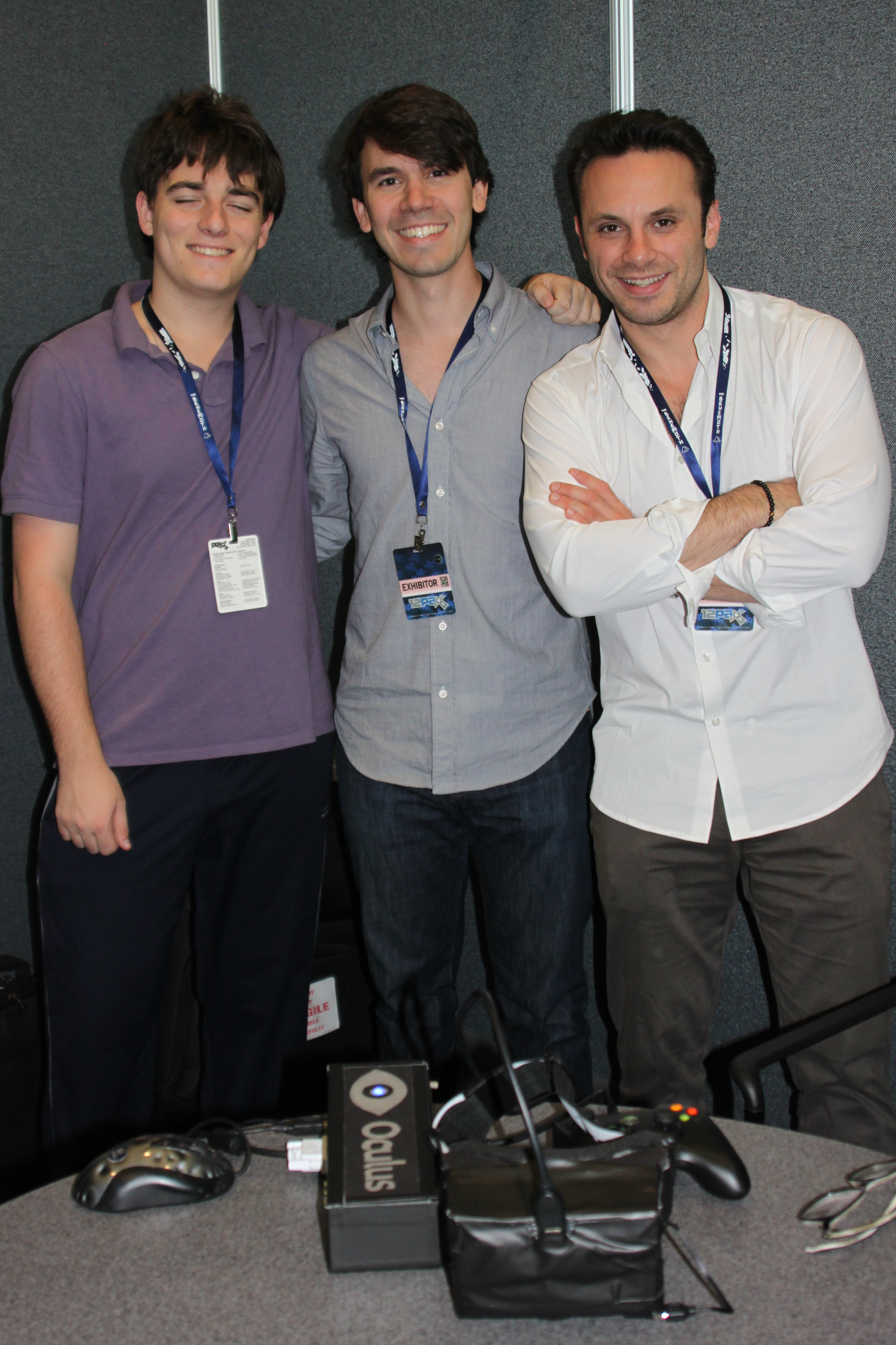 From left to right: Rift creator Palmer Luckey, VP of product Nate Mitchell, and CEO Brenden Iribe