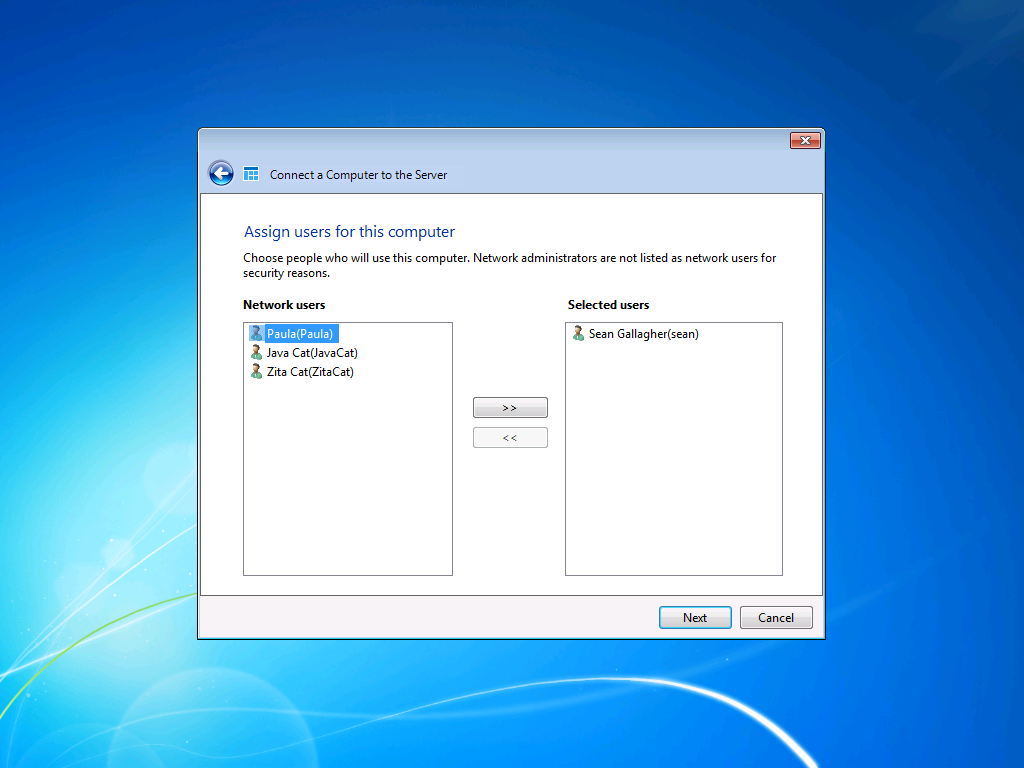 After adding the PC to the Active Directory domain and rebooting it, the connection wizard continues by asking which users already added to the domain will use this computer.