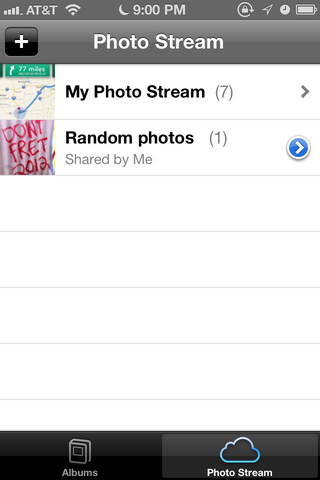"You can now share Photo Streams with others. My second one here, ""Random photos,"" is shared with friends."