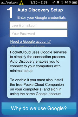 You can't get past this screen in PocketCloud Explore without a Google account.