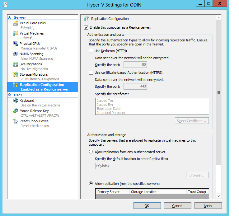 The interface for setting up a Hyper-V host as a replication target.