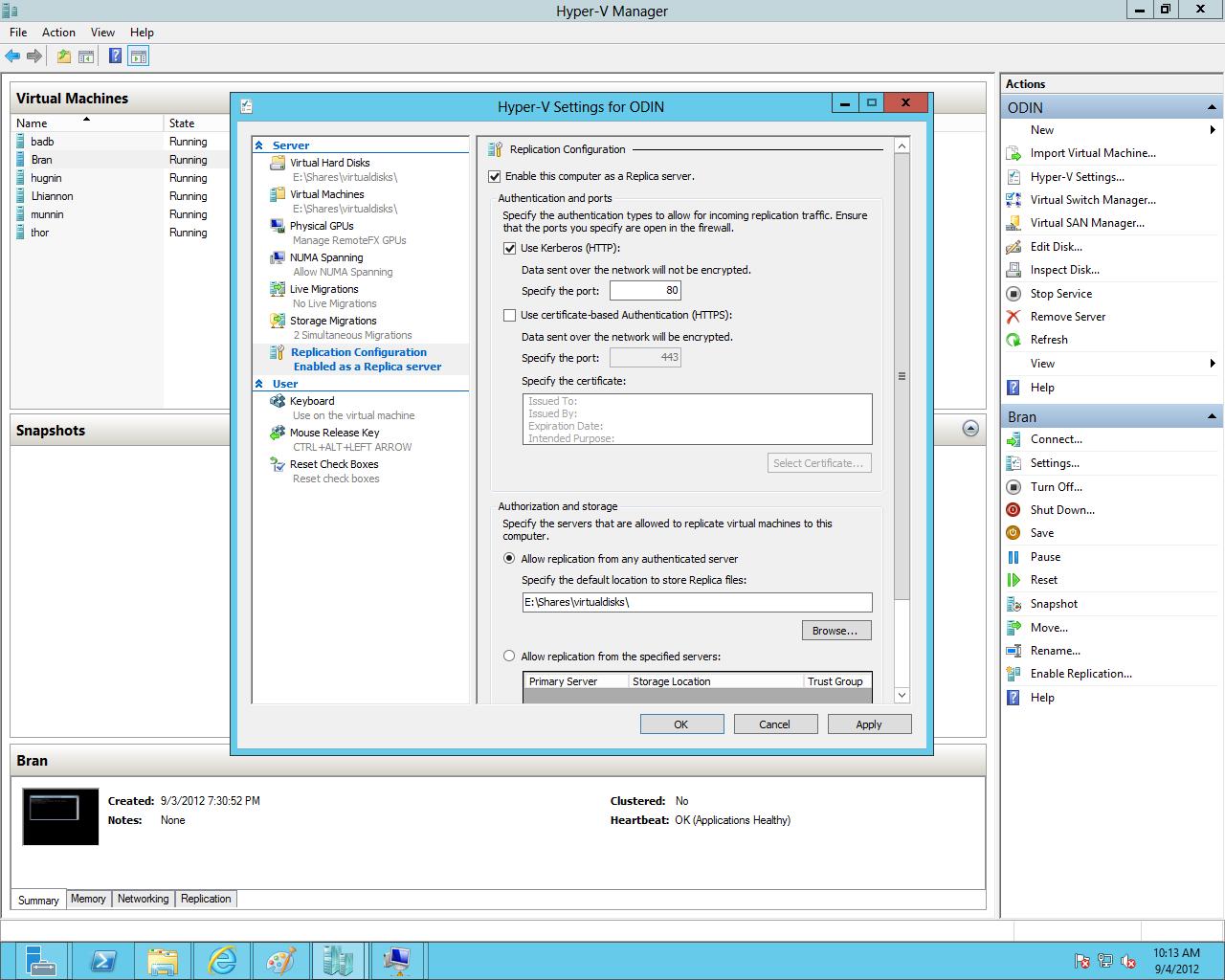 Configuring replication in Windows Server 2012's Hyper-V.