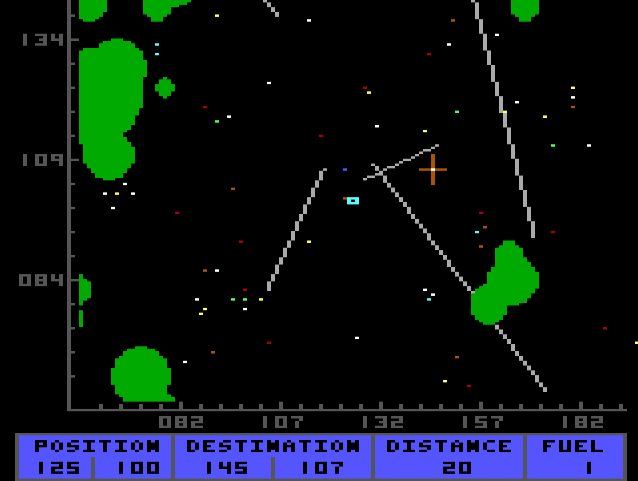 A portion of the in-game starmap.