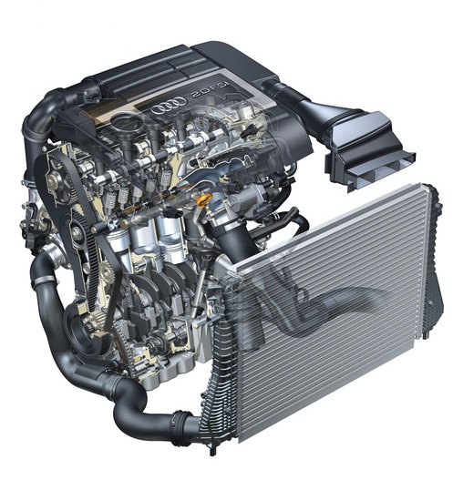 A cutaway of Audi's TFSI engine. Clever stuff.