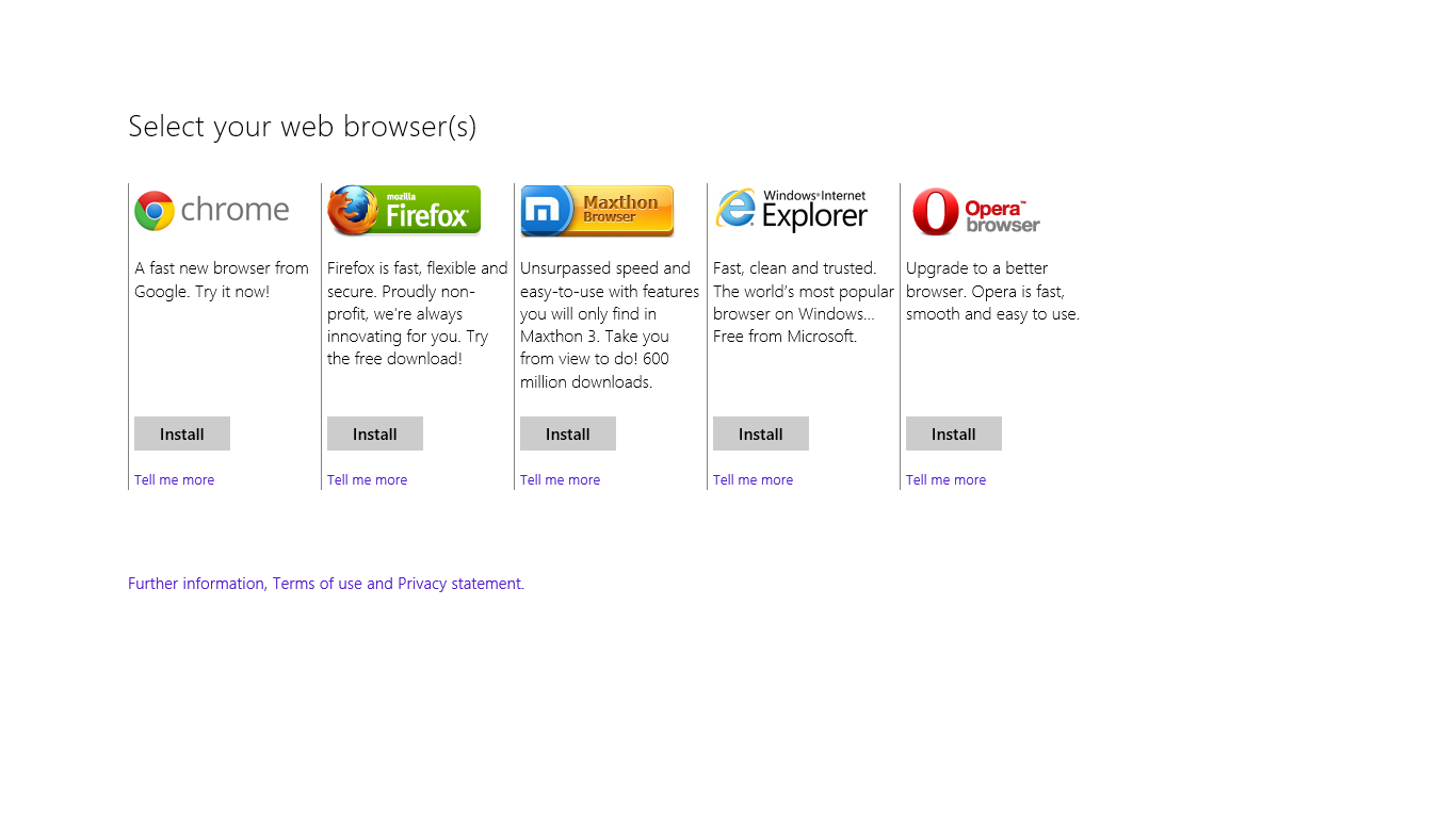 The browser choice screen in Windows 8.