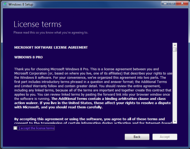 The Windows license terms, which we're sure you'll take the time to read.