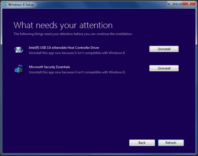 Next, the installer will check your installed drivers and applications for known incompatibilities—incompatible software must be removed before the installer will continue. In this case, Windows has identified Intel's USB 3.0 driver and Microsoft Security Essentials as unnecessary, because both USB 3.0 and Microsoft's anti-virus engine are native to Windows 8.