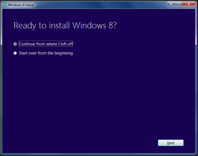 If the process is interrupted, Setup will offer to continue where you left off when you log back in.