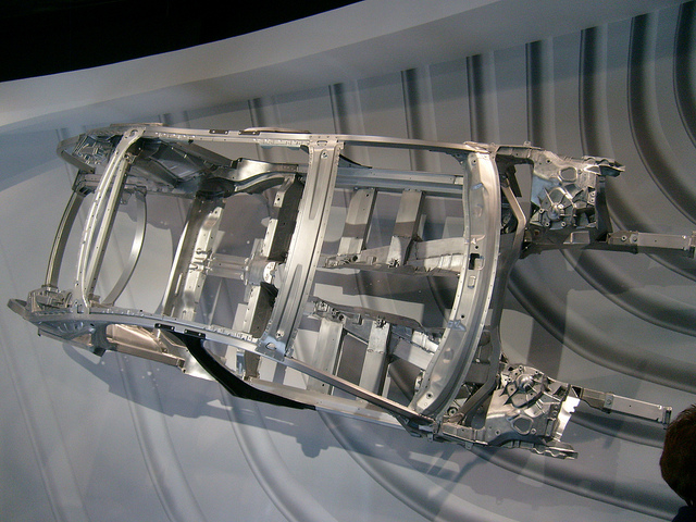 An Audi A8's aluminum chassis.