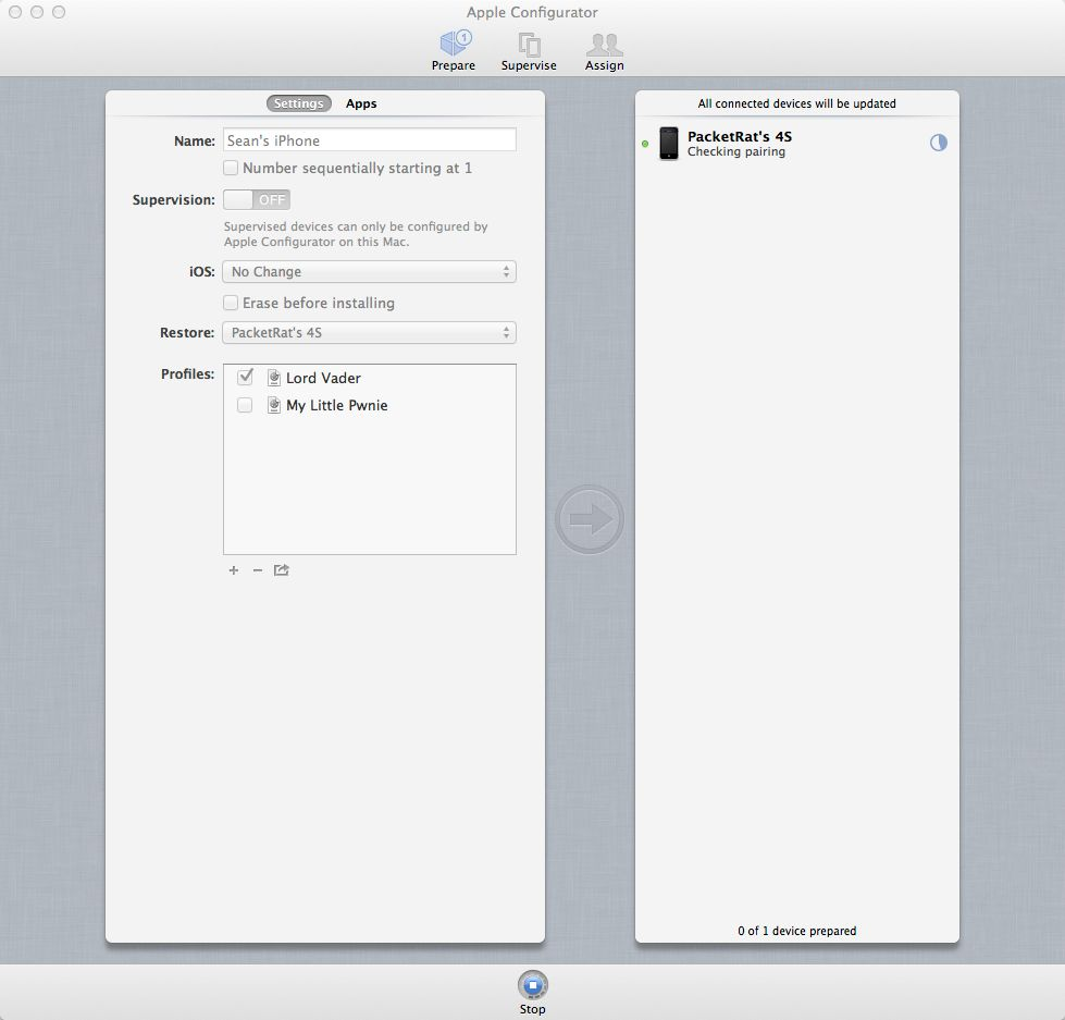 Configurator in Prepare view, applying a policy profile to my iPhone 4S in unsupervised mode.