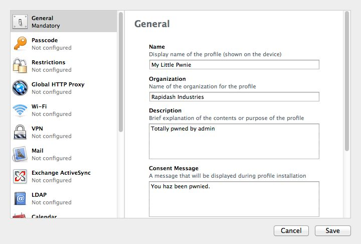 Every profile needs a name. You can also give it a description and a consent notice, so that when it's exported to an MDM tool admins and users know what's lurking within the profile settings.