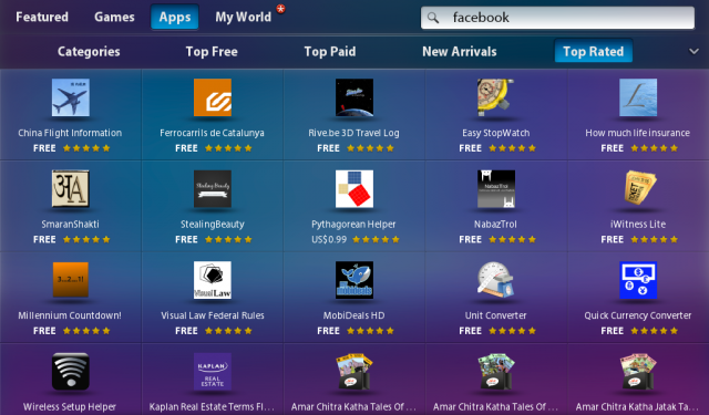 A glimpse at the Blackberry App World's top-rated apps.