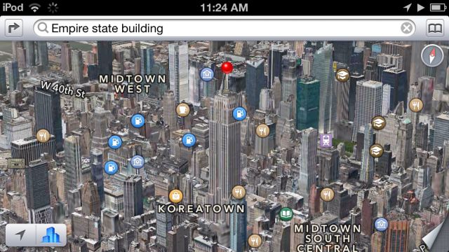 3D Flyover maps are new to the iPod touch lineup.