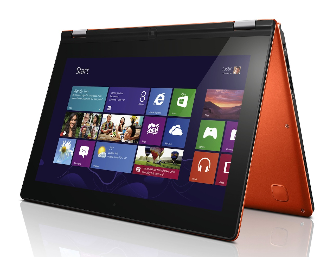The ARM-based IdeaPad Yoga 11 is .61 inches (15.6mm) thick and weighs 2.8 pounds (1.27kg).