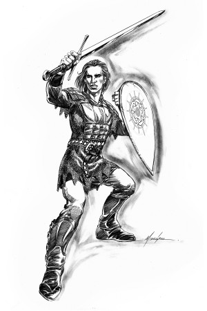 Illustration of the characters Percival from in the hardcover and digital editions of <em>The Mongoliad: Book One Collector's Edition</em>.