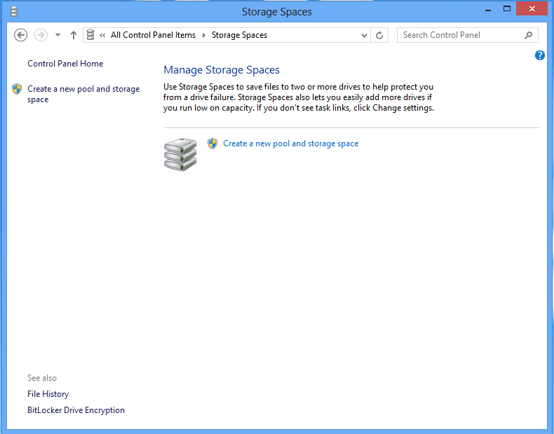 The Storage Spaces control panel with no storage pools or spaces configured.