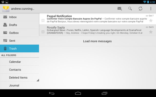 Google's Mail app includes navigation on the left and messages on the right, a relatively efficient use of a tablet's larger screen.