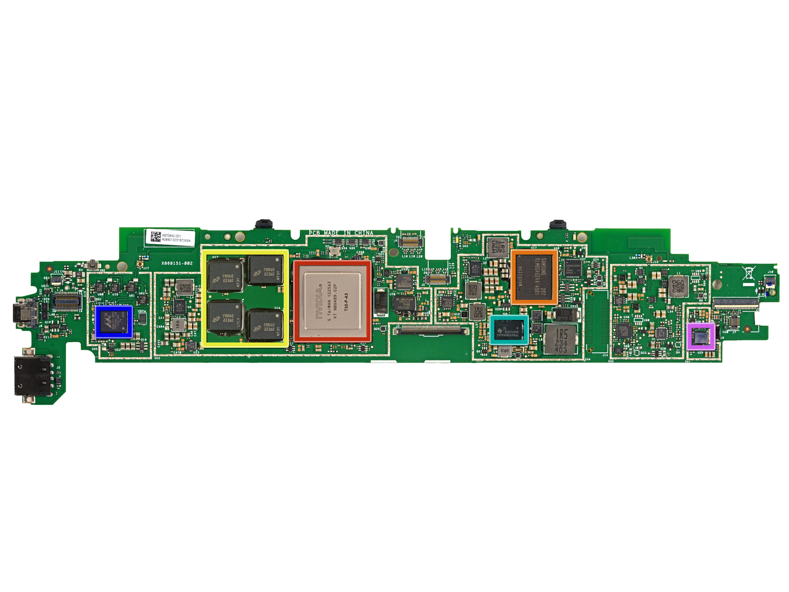 The Surface RT's motherboard. Tegra 3 SOC in red, Samsung RAM in yellow, Marvell MIMO SOC in blue at left.