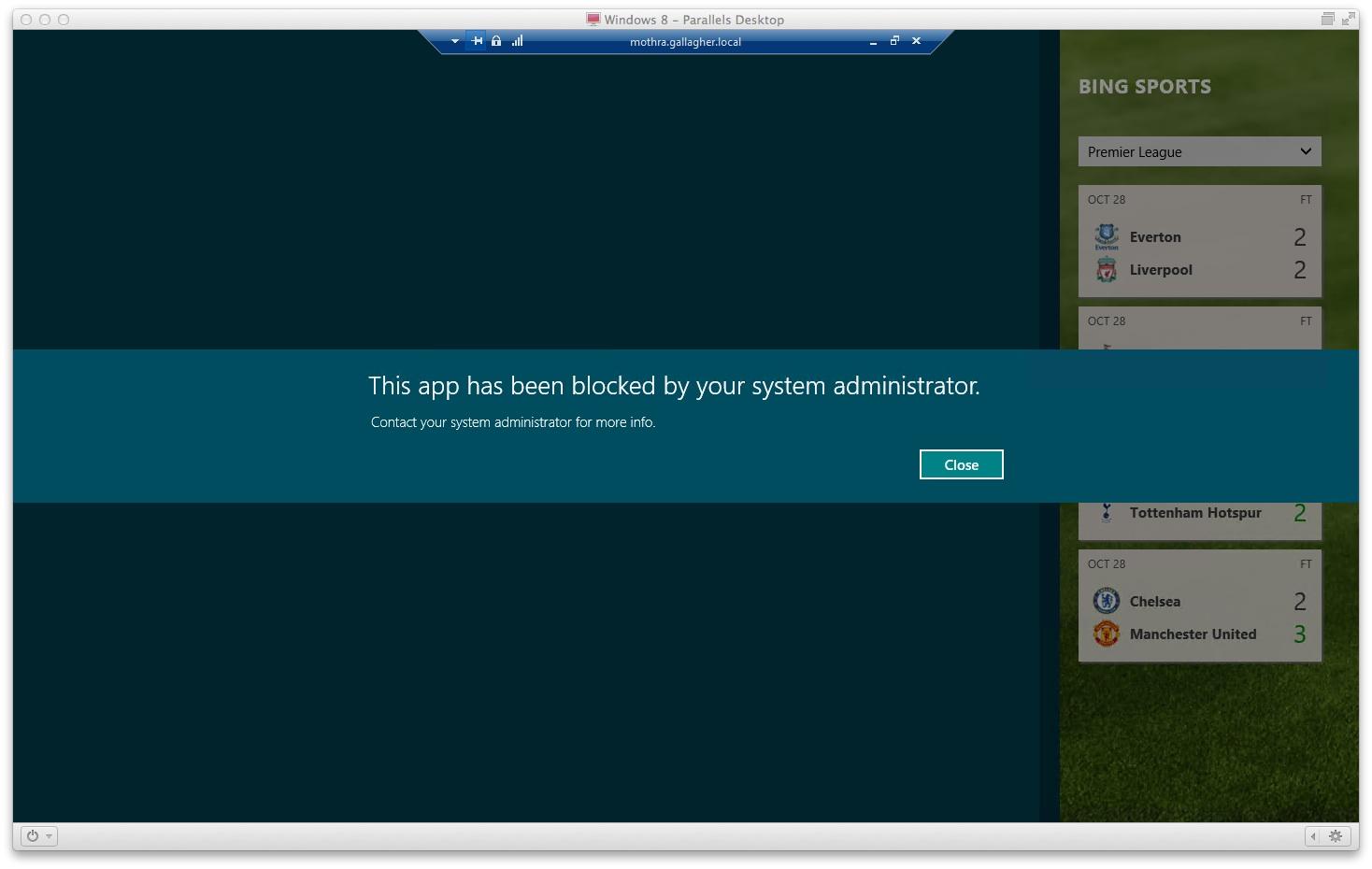 Windows 8 Enterprise informs the user that AppLocker has app blocked them.