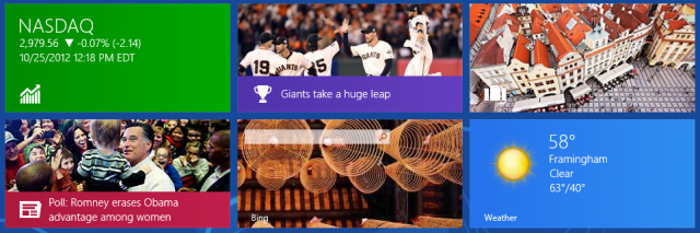 Clockwise from top left: Bing Finance, Sports, Travel, Weather, Search, and News. The live tiles on the Windows 8 Start screen highlight the top content of the day in each app.