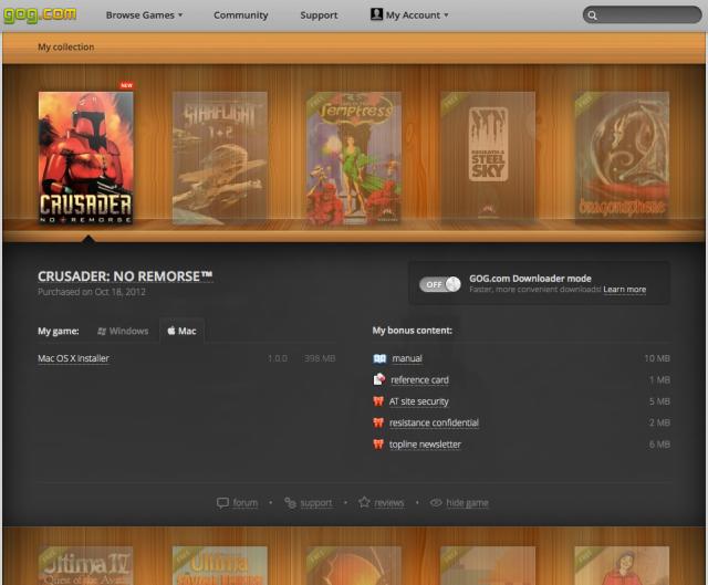 Downloading <em>Crusader: No Remorse.</em>