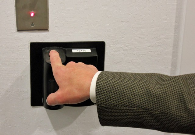 One of many fingerprint scanners at the entrance to a data center at Symantec's SSL certificate vault.
