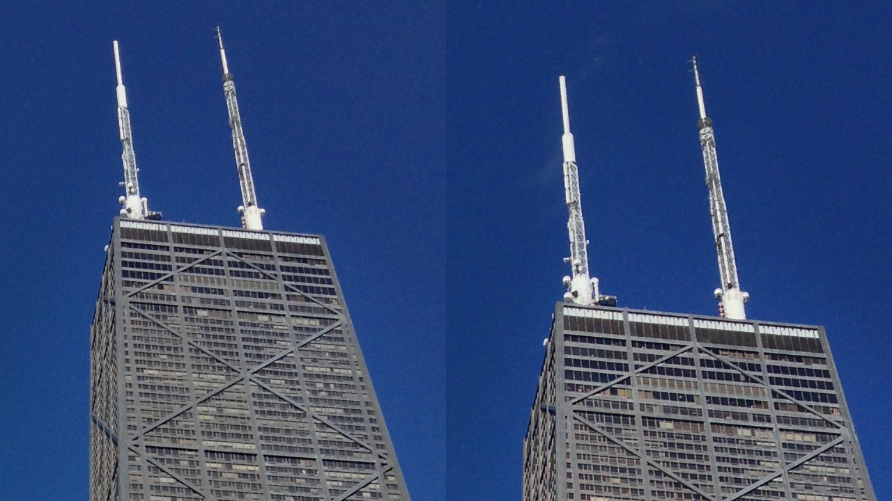 The iPod touch's 5MP sensor (left) doesn't quite capture the same level of detail as the 8MP iPhone 5 (right), but noise is well controlled.