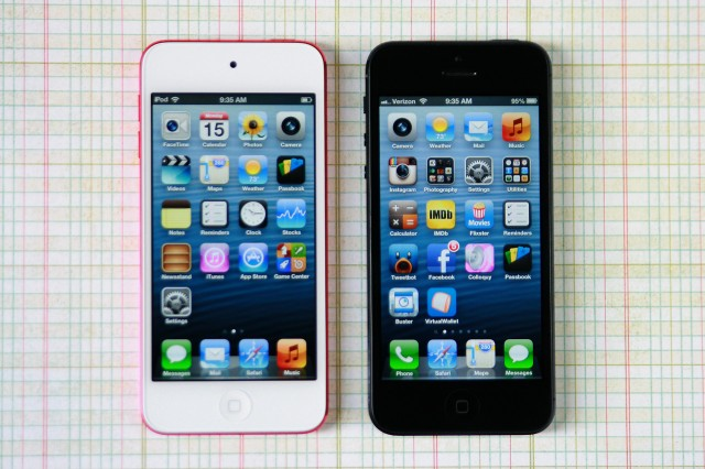 The screen on the iPod touch appears to be identical to the one used in the iPhone 5, unlike the one used in the fourth-generation iPod touch.