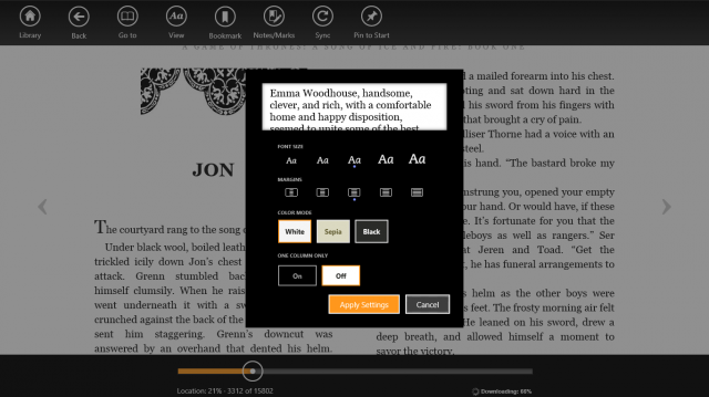 The Windows Store has a pretty-good-looking Kindle app, but its performance is bad—rotating the screen and turning pages are both sluggish and unresponsive compared to the app in Android and iOS.