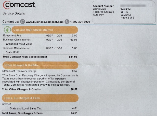 My Comcast Business Class bill, reverse side.