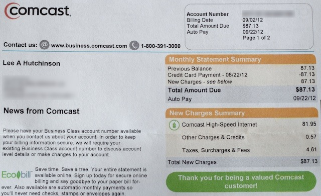 My Comcast Business Class bill, front side.